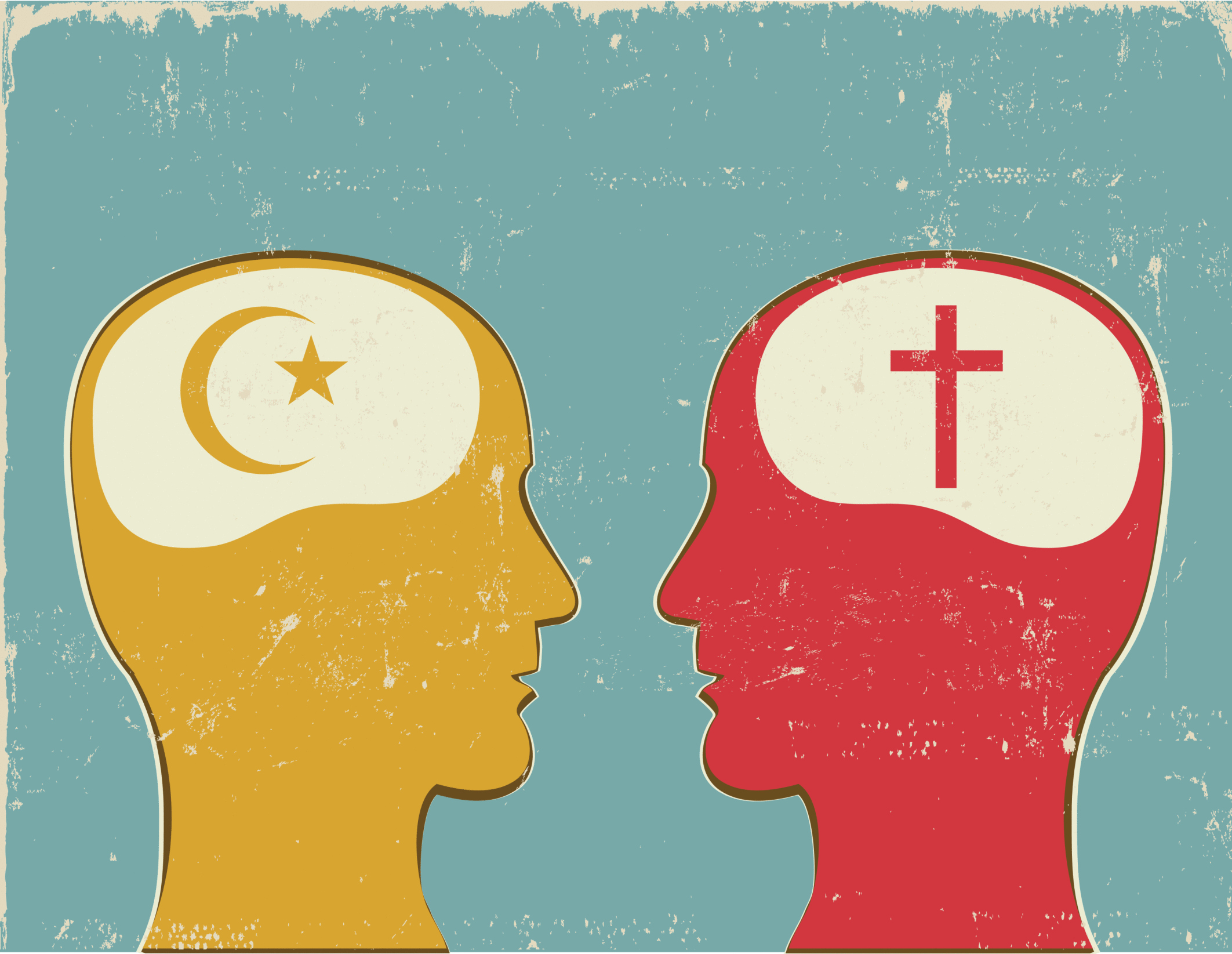 Profiles with Christian and Islamic symbols